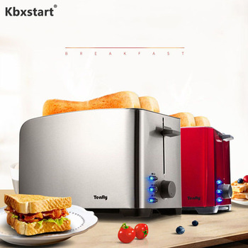 Kbxstart 220V Home Automatic Toaster Fast Heating Bread Multi-function Breakfast Machine Stainless Steel Toaster 2 Slices