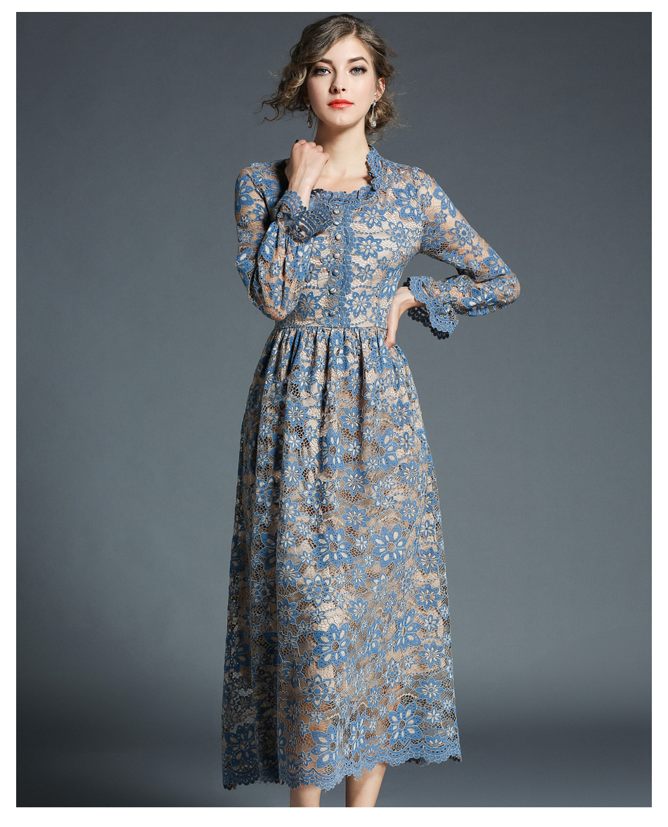 Elegant Vintage Flower Hollow Out Long Sleeve Lace Dress 3