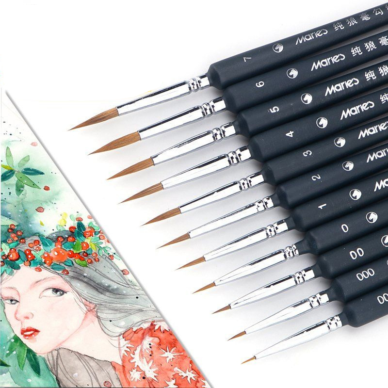 1Piece Paint Brush Fine Miniature Fine Hook Line  Wolf Half Paint Brushes Nail Art Drawing Brushes For Acrylic Painting Supplies