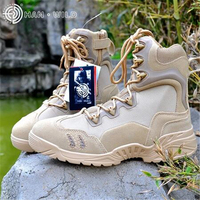 Genuine Leather Men Army Boots Side Zipper Men Desert Combat Outdoor Army Boots Travel Shoes Breathable Tactical Ankle Boots