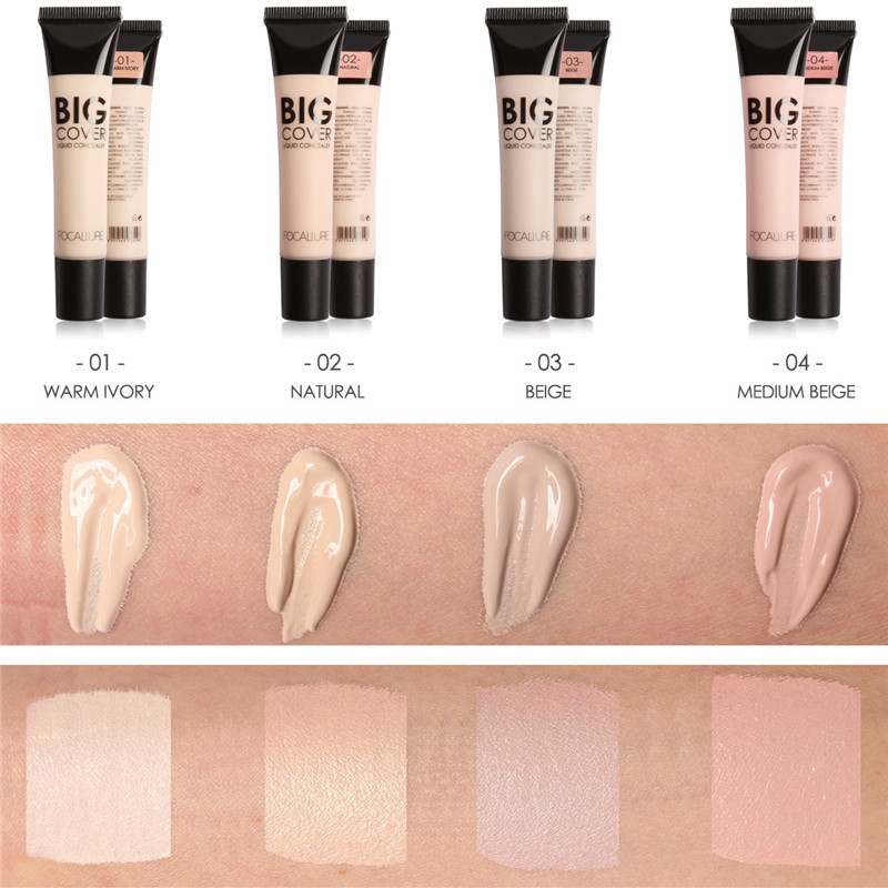 FOCALLURE Full Cover 4 Colors Liquid Concealer Eye Dark Circles Cream Face Corrector Waterproof Liquid Foundation Make Up Base image