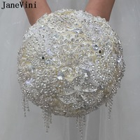 JaneVini Luxury Full Beaded Wedding Bouquets Crystal Bridal Flowers Wedding Brooch Bouquets Artificial Satin Roses Fleur Mariage