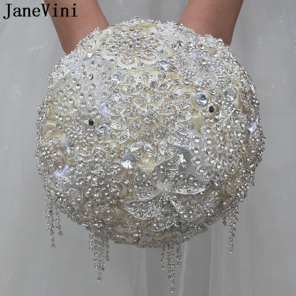 JaneVini luxe complet perlé Bouquets de Mariage cristal mariée fleurs Mariage broche Bouquets artificiel Satin Roses Fleur Mariage