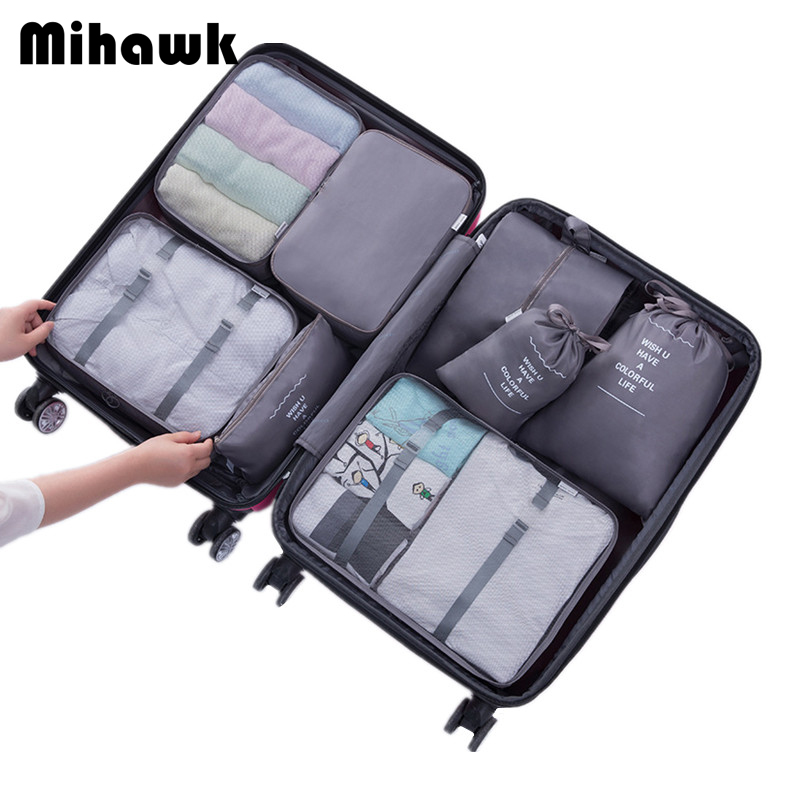 Mihawk Travel Bags Sets Waterproof Packing Cube Portable Clothing Sorting Organizer Luggage Accessories Supplies Product