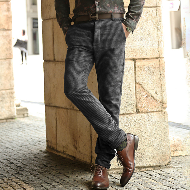 New Winter Brown Corduroy Stripes Mens Pants Casual Fashion Mens Winter Pants Business Trousers Pantalones Hombre K1038
