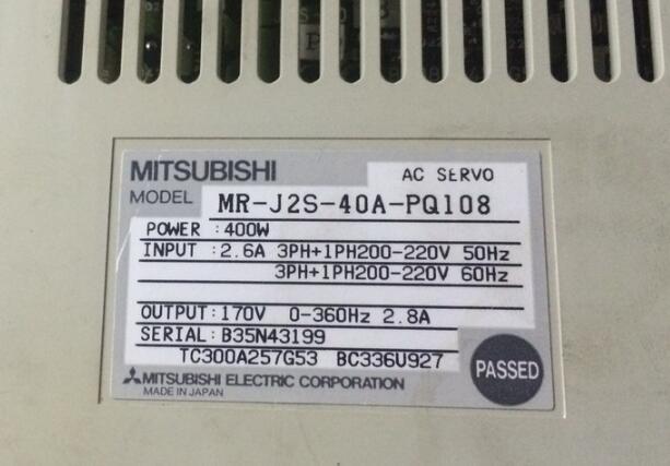 Servo drive MR-J2S-40A-PQ108   , Used one , 90% appearance new , 3 months warranty  , in stock Servo drive MR-J2S-40A-PQ108   , Used one , 90% appearance new , 3 months warranty  , in stock