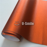Hoge Kwaliteit Matte Oranje Geborsteld Metallic Vinyl Folie Film Bubble Gratis Voor Car Wrapping Grootte: 1.52*20 M