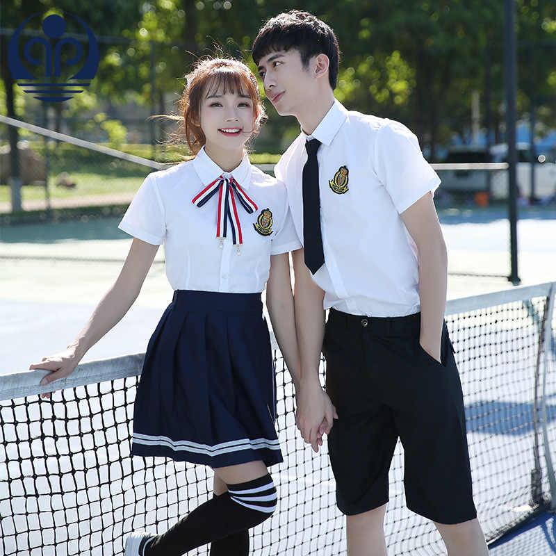 Летний студенческий костюм в японском/Корейском стиле милый костюм матроска для девочек/женщин Школьная Униформа темно-синий топ + юбка D-0577