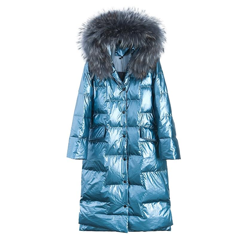 Femmes Vers Le Bas Veste 2019 Nouveau Manteau D'hiver grand Col De Fourrure Femmes Long Paragraphe Épaississement Mince Chaud À Capuche Pour Femme