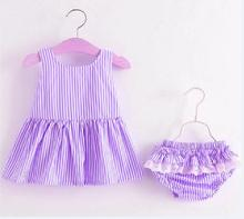 Baby Girls Newborn Dress Clothes New Cute Bowknot Striated Sleeveless Girl Dress + PP Pants infant 2pcs Clothing Sets Kids