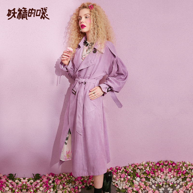 ELF SACK New Casual Trench Woman Solid Turn down Collar Full Women Trench Coat Double Breasted
