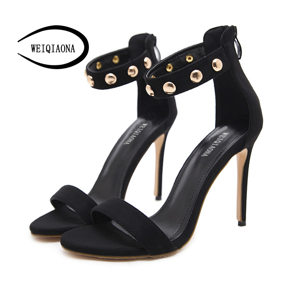 цена на WEIQIAONA Summer Women shoes High Heels Leather Sexy Black Ankle Strappy Sandals Female Thin Heels Sandals Stiletto Open toe