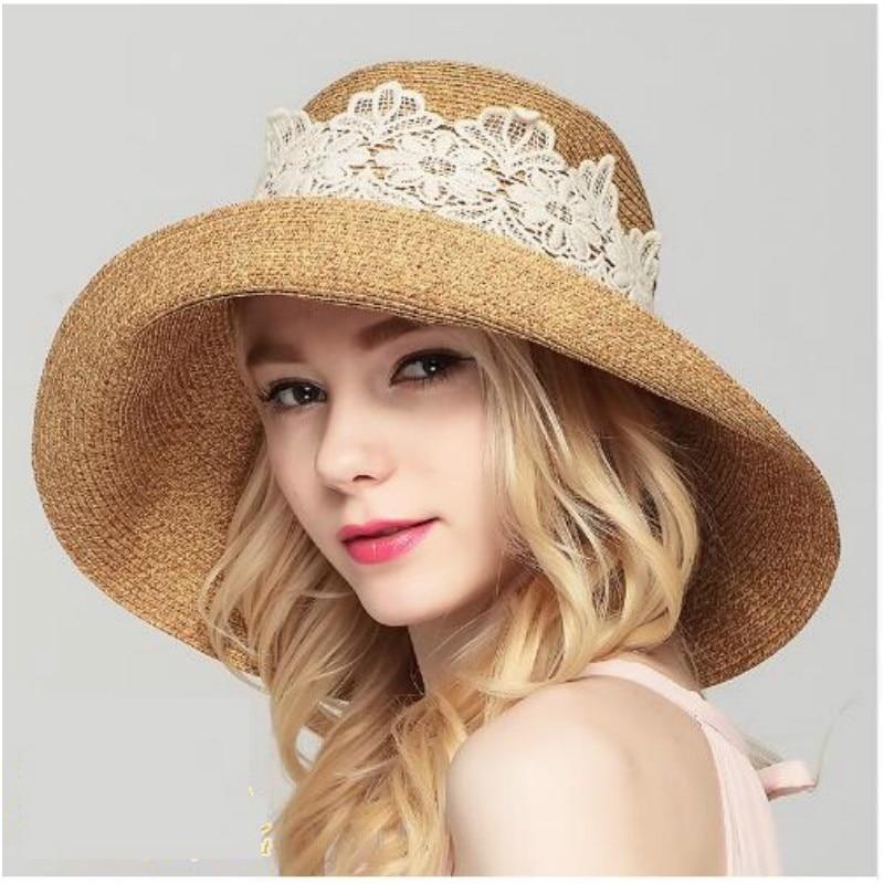 2016 New Lady Sun Hat Sommarstråhatt Kvinnor Vikad Bred Surf Solkeps - Kläder tillbehör