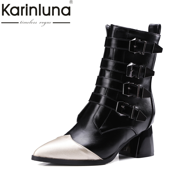 KARINLUNA new plus sizes 32-43 pointed toe buckles brand shoes women fashion hoof heels Martin boots woman black