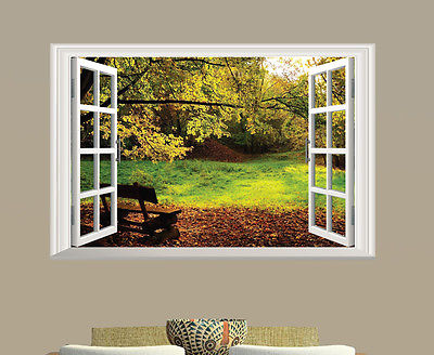 Buy 3d window back garden view wall art for English garden wall mural