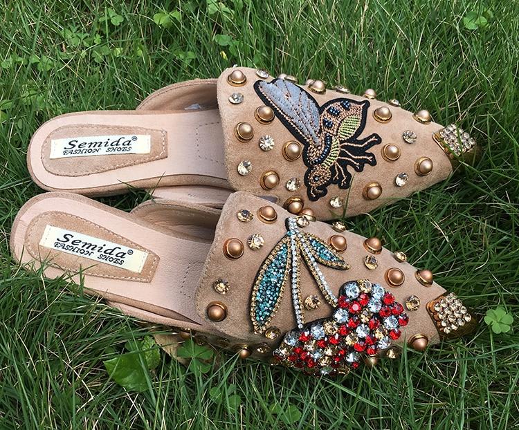 Image 4 - SWYIVY Women Slipper Pointed Toe Crystal Flower 2018 Spring Female Luxury Half Slippers Lady Outside Wear Slides Woman SlippersSlippers   -