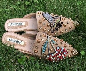 Image 4 - SWYIVY pantoufles à bout pointu en cristal pour femmes, sandales de luxe, pour printemps, 2018