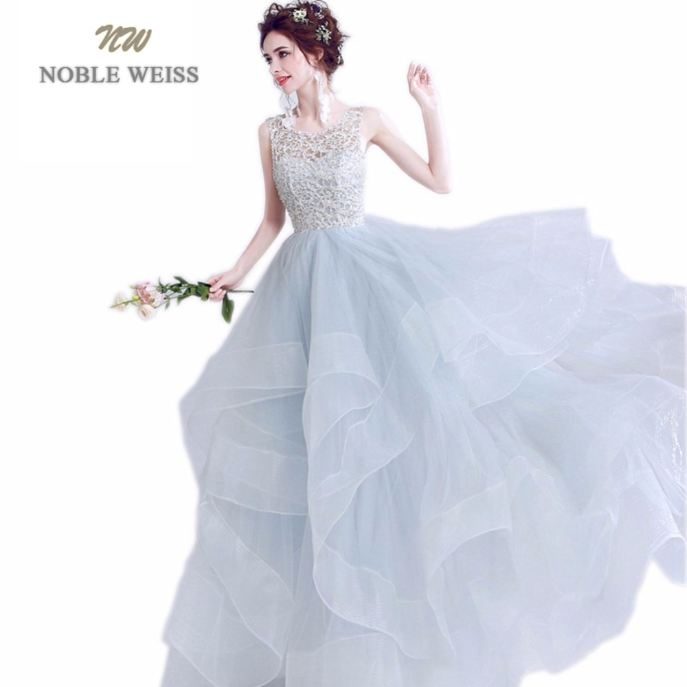 NOBLE WEISS Ball Gown Lace Evening   Dress   Sexy   Prom     Dresses   With Sweep Train Backless Light Gray   Prom   Gown