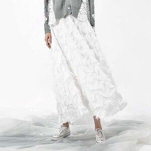 Image 5 - [EAM] 2020 Spring New Fashion Black White Tassels Stitching Big Pendulum Long Type Half body Skirt Women YC237