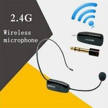 2.4G אלחוטי שידור מיקרופון דיבור אוזניות מגפון רדיו מיקרופון לרמקול הוראת מפגש מורה Microfone