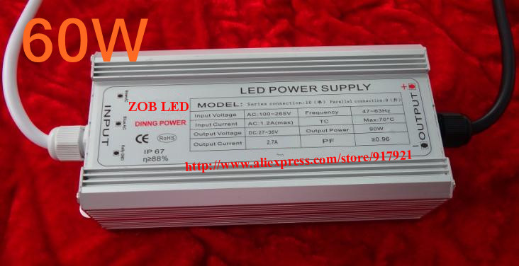 60w led driver DC36V,1.8A,high power led driver for flood light / street light,constant current drive power supply,IP65