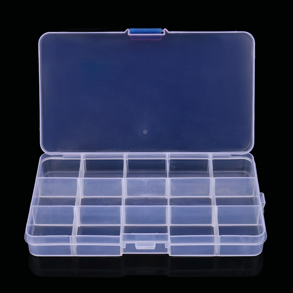 Plastic 15 Slots Adjustable Jewelry Storage Box Case Craft Organizer Bead Case For Home Daily Organizing Tool 1.2 !