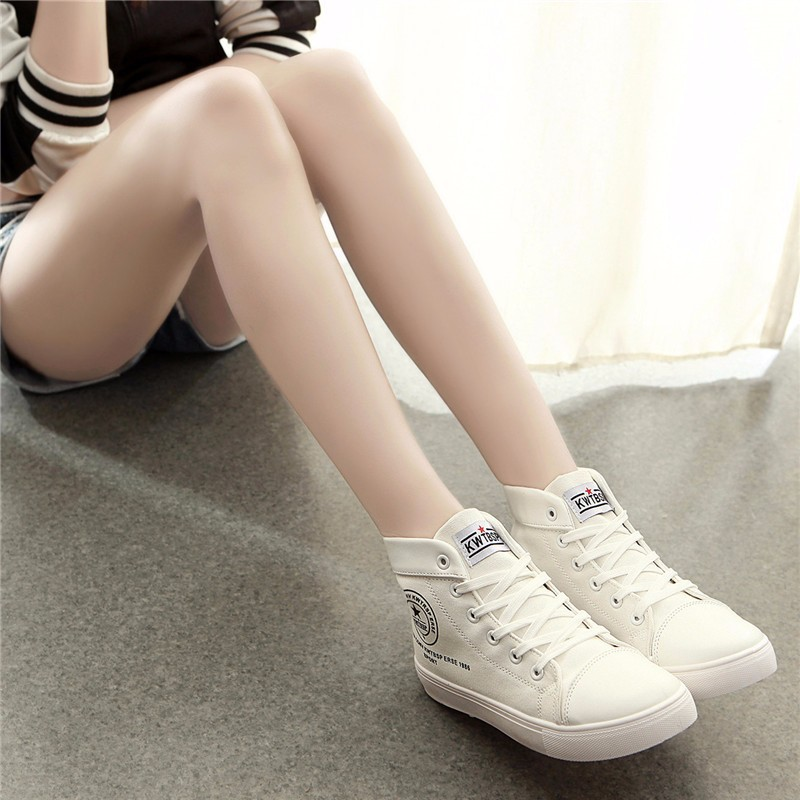 Flat High Top Canvas Women Shoes 17 Colors Spring Autumn Women's Flats Espadrilles Lace Up Casual Shoes Foot 22-24.5CM YD87 (1)