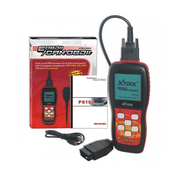 Auto Car OBD2 OBD 2 OBDII Code Reader Diagnostic Scanner Repair Tool XTool PS100 With Adapter Connectors Cable Full Set