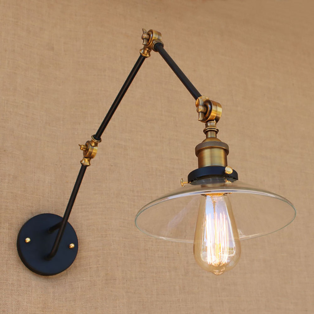 Vintage antique black glass lampshade free adjust long swing arm wall lamp e27 110v 220v lights sconce for bedroom dining room|light sconce|light sconces for bedroom|swing arm - title=