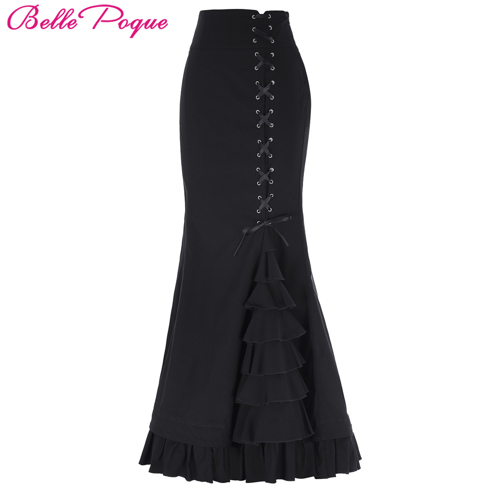 0c6ffb7474c65 US $25.37 38% OFF|Long Skirts Womens Elegant Fishtail Mermaid Skirt Black  Grey Victorian Gothic Ruffle Steampunk Retro Vintage Skirts Maxi Skirt-in  ...