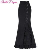 Long Skirts Womens Elegant Fishtail Mermaid Skirt Black Grey Victorian Gothic Ruffle Steampunk Retro Vintage Skirts Maxi Skirt