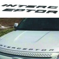 For Ford Crown Victoria Police Interceptor 3D INTERCEPTOR Fixed Silver Black Letters Hood Emblem Car Styling