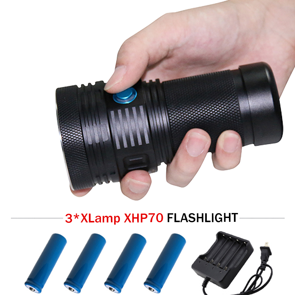 XHP70 13000 lm LED tactical flashlight high power rechargeable LED flashlight lantern waterproof 4x18650 battery outdoor light high power led searchlight lantern built in battery handheld portable flashlight torch rechargeable waterproof hunting lamps