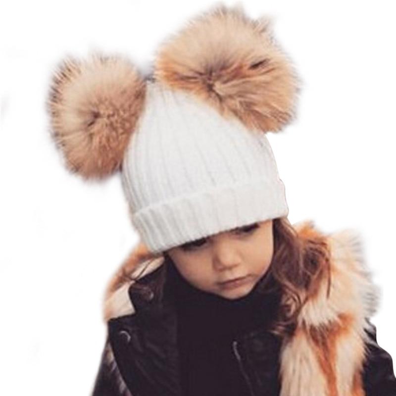 Kids Wool Knitted Warm Winter Caps 2018 Baby Girls Boys Pom Pom Hat Chidren Dual Raccon Fur Ball Hat Beanies Bonnet Enfant