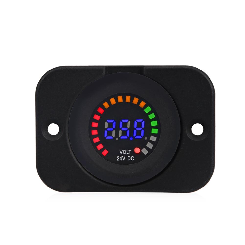 24V 12V Car Motorcycle LED Panel Digital Voltage Meter Display Auto Car Voltmeter Panel Waterproof Volt Meter Gauge for Boat