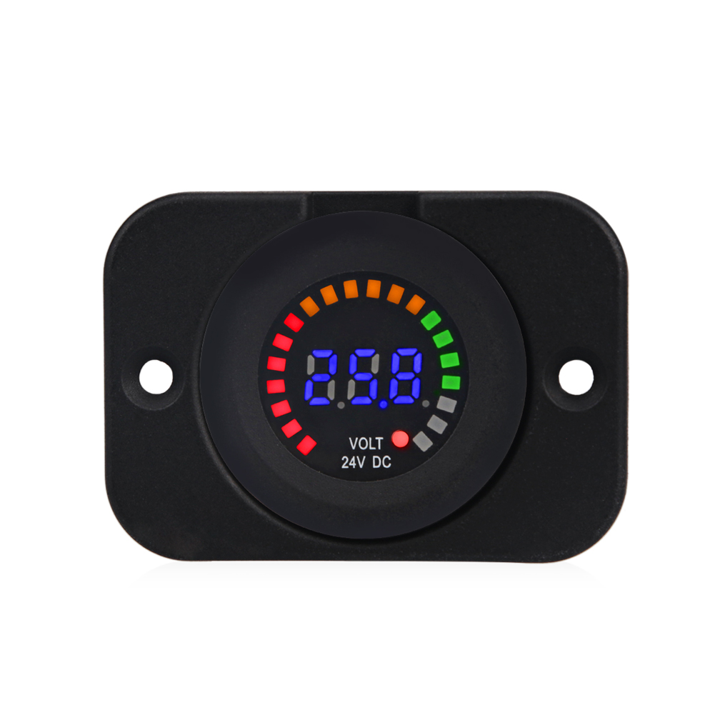 24V 12V Car Motorcycle LED Panel Digital Voltage Meter Display Auto Car Voltmeter Panel Waterproof Volt Meter Gauge for Boat