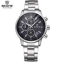 SKONE человек хронограф 24 часа Дисплей Спорт Часы Для мужчин Элитный бренд серебро Сталь кварц часы Бизнес Военная Униформа часы Relogio