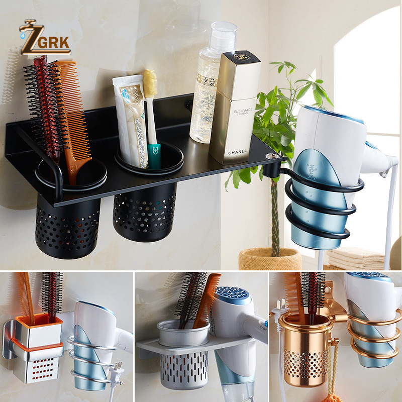 ZGRK Multi-function Bathroom Home Hair Dryer Holder Wall Mounted Rack Space Aluminum Shelf Storage Organizer Hair Dryer Holder
