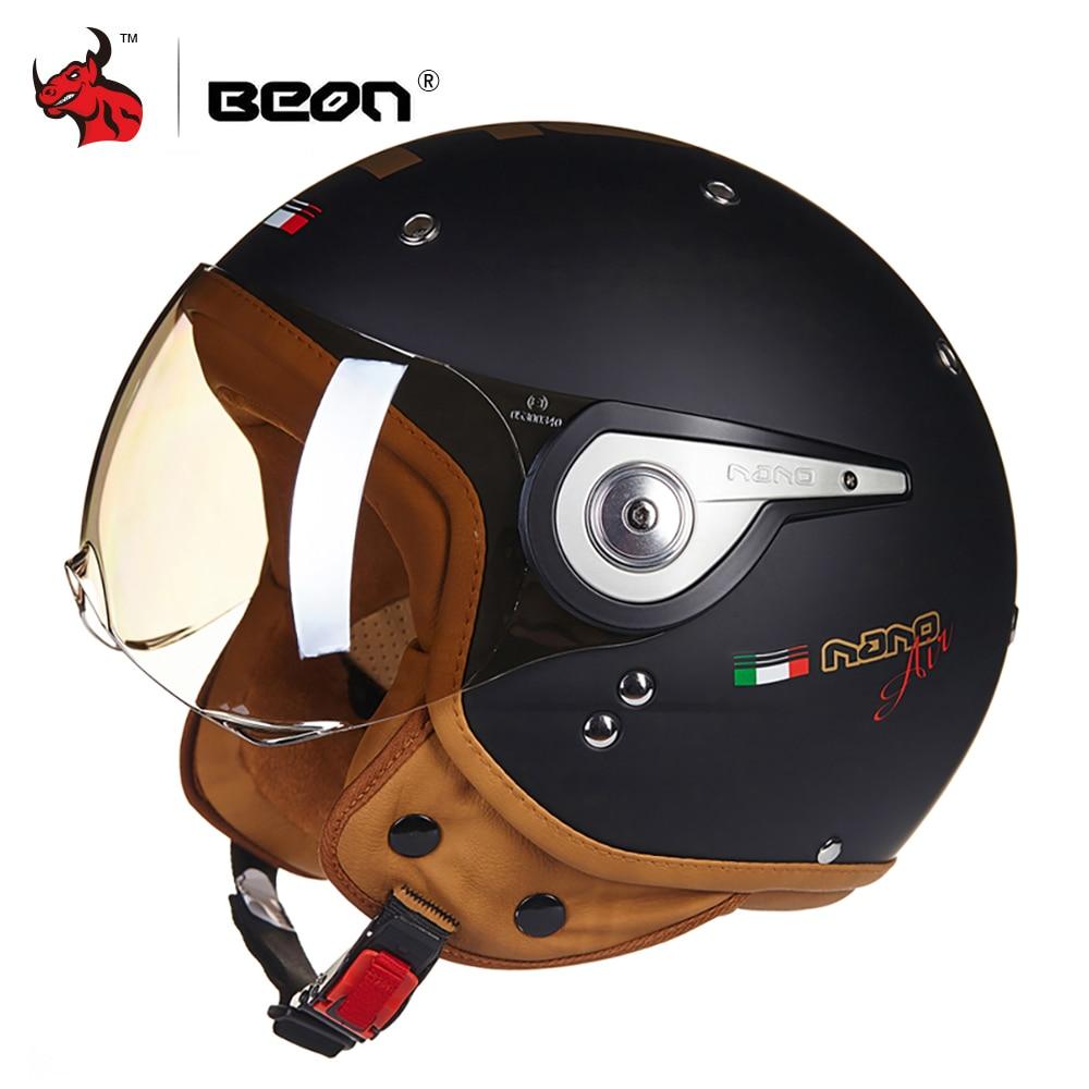 BEON Moto Casque Hommes Wonmen Vintage Scooter 3/4 Open Face Casque casco capacetes Rétro Biker Moto Visière de Casque
