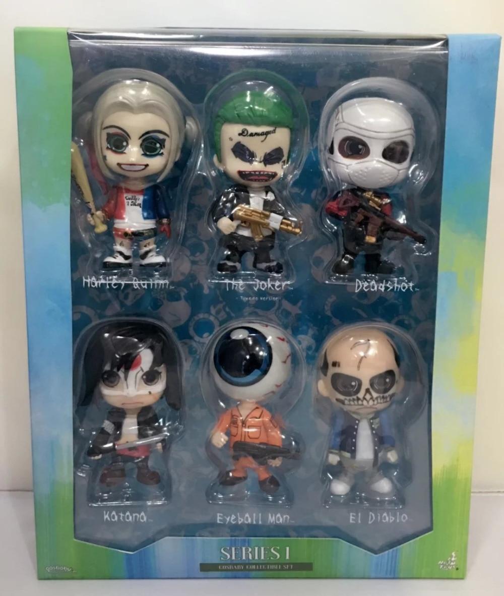 Suicide Squad 6pcs/set Joker Deadshot Harley Quinn Katana movie Anime Action Figure PVC toys Collection figures Collection