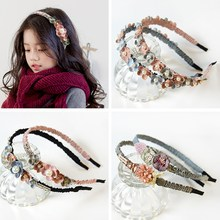 Korean Flower Headband For Girls Rhinestone Crown Hairbands High Quality Women Girls Hair Accessories Party Handmade Jewelry(China)