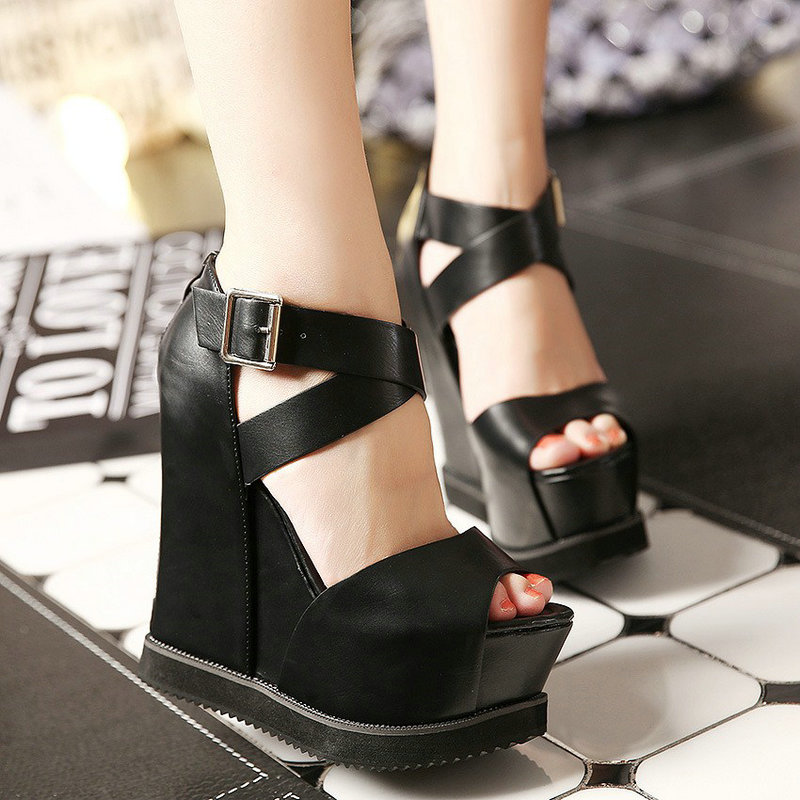 Women fashion Sandals Super High Heel Ladies Genuine Leather Casual Shoes Peep Toe Wedges Sandals Summer Platform Sandals SD-06