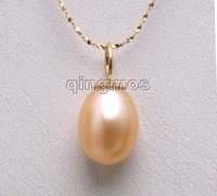 Gold Solid Chain With AAA 9 10MM Natural Pink Drop Pearl Pendant 16 Necklace Nec5519 Wholesale
