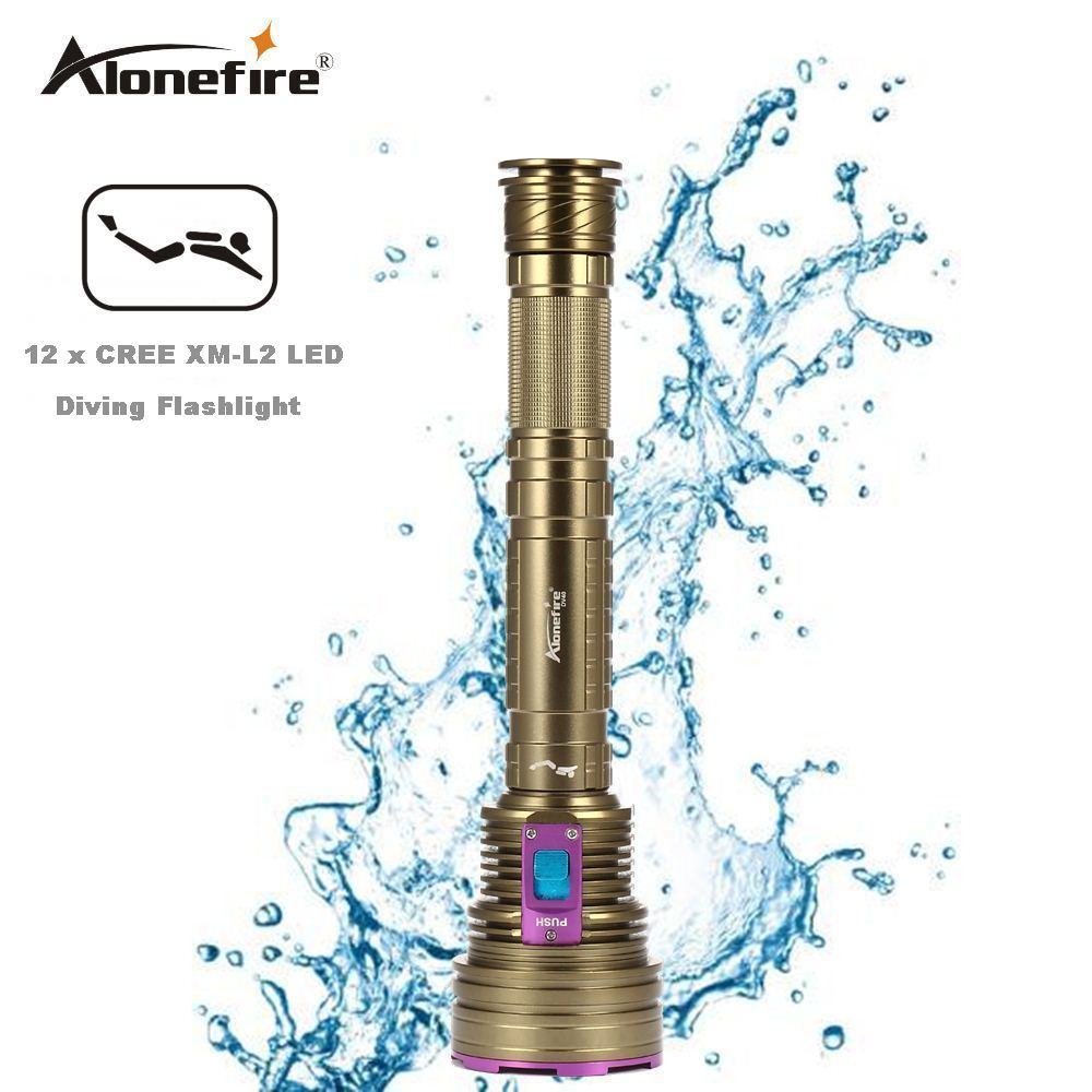 AloneFire DV40 Dive 30000LM 12*XM-l2 LED Waterproof 100m Diving Scuba 26650 Flashlight Torch 100m underwater diving flashlight led scuba flashlights light torch diver cree xm l2 use 18650 or 26650 rechargeable batteries
