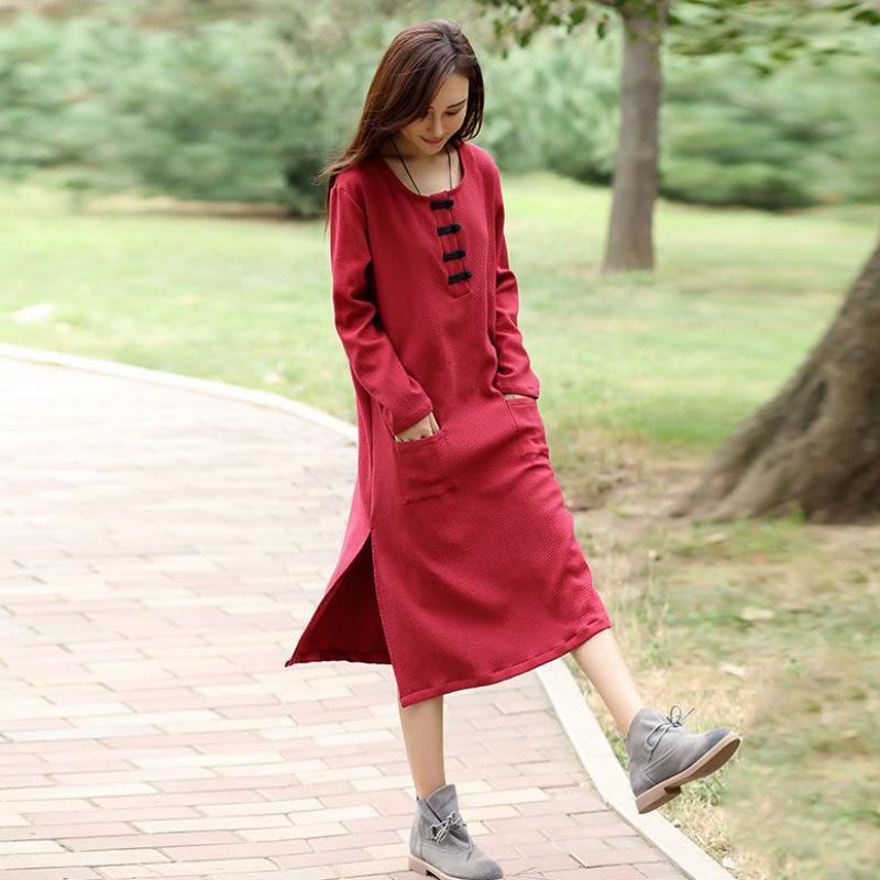 2018 Style National tissu bouton femmes printemps robe à manches longues o-cou couleur unie cheville-longueur le grand pendule Typ Vestidos