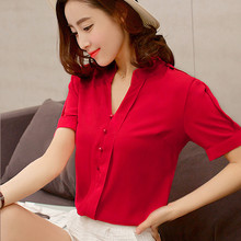 Chemise femme,fashion Casual Sexy V Neck New Chiffon shirts,red White Loose blouse,Korean Style Blusa Feminina Top Femme TT1221