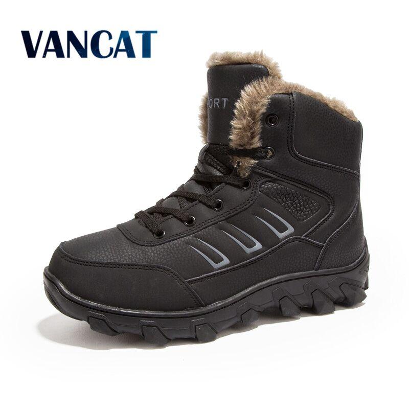 Vancat Nouveau Super Chaud Hommes Bottes D'hiver pour Hommes Hommes de bottes de neige Chaude Chaussures 2018 Nouveaux Hommes de Cheville botte de neige plus la taille 39-48