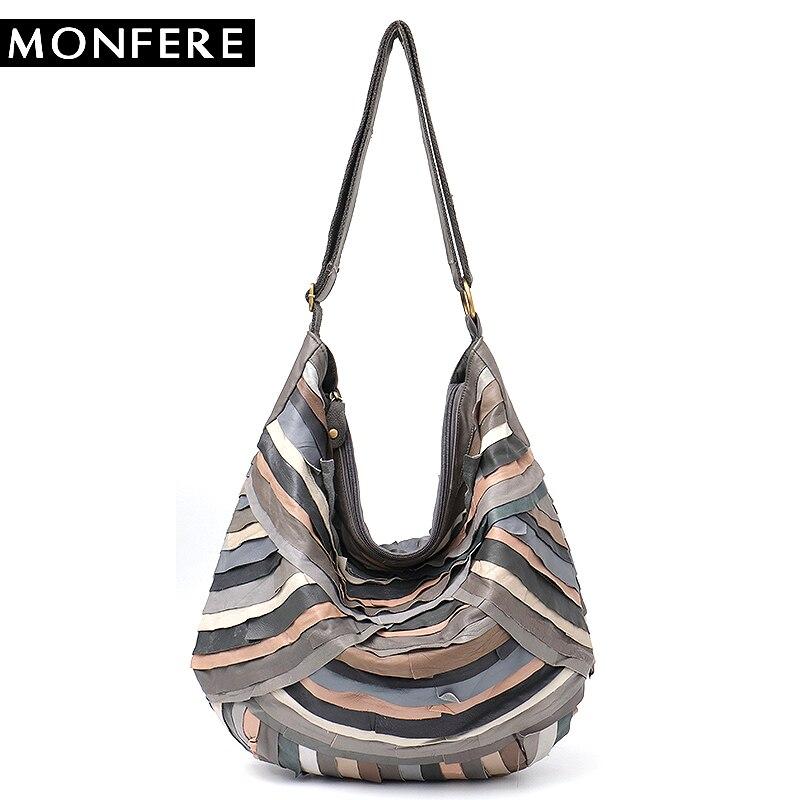 MONFERE большой бренд Винтаж для женщин сумки на плечо из натуральной овечьей кожи лоскутное Хобо для обувь девочек мягкие красочные сум