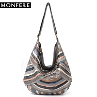 MONFERE Large Brand Vintage Women Shoulder Bags Genuine Sheep Leather Patchwork Hobo for Girls Soft Colorful Joint Messenger Bag