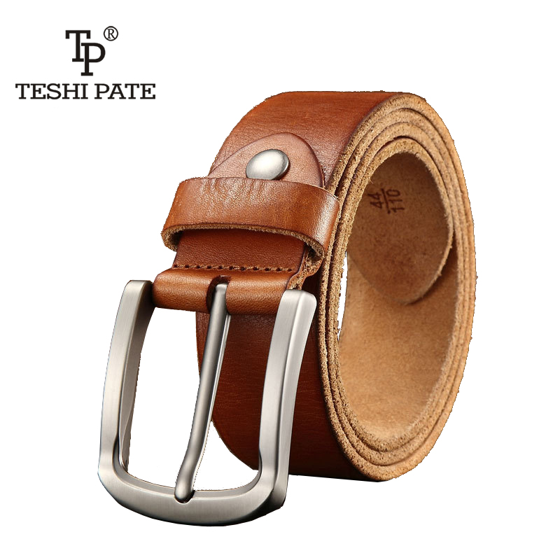 designer   belt   men high quality luxury 100%real cowhide grain genuine leather vintage pin buckle full grain cow leather Hot Sale